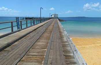 Stroll along the pier and spot fish and birds at Kingfisher Bay Resort
